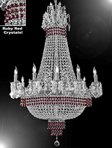 (Empire Crystal Chandelier Chandeliers Lighting Dressed with Ruby Red Crystals! Great for The Dining Room, Foyer, Living Room! H32