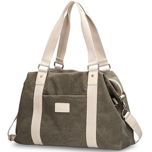 Women Handbag BLOOMSTAR Canvas shoulder Shopper Tote Beach Bag Handbag Messenger Bag School Bookbag (Large, Army - Shopping Military Road