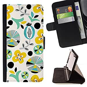 For Samsung Galaxy Core Prime / SM-G360 Case , Patrón Arte Formas Teal Amarillo- la tarjeta de Crédito Slots PU Funda de cuero Monedero caso cubierta de piel
