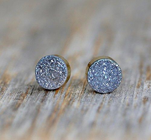 - Slate Blue Druzy Round Circle Stud Earrings Genuine Drusy Gemstone -8mm