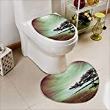2 Piece Toilet lid Cover Toilet mat Scene Accessories College List One a Kind Machine Washable Silky Satin in High Density Space Memory Cotton