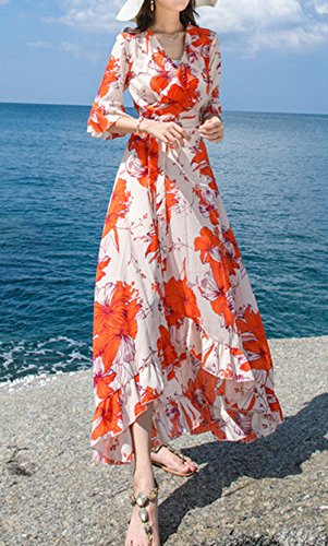 Sommer Lang Kleider mit Bandagen Damen Mode Bohemia Blumen Irregulär ...