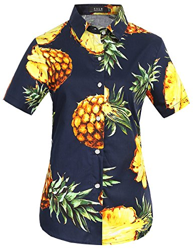 Street Shirt Hawaiian (SSLR Women's Pineapple Short Sleeve Casual Button Down Hawaiian Shirt (Large, Navy))