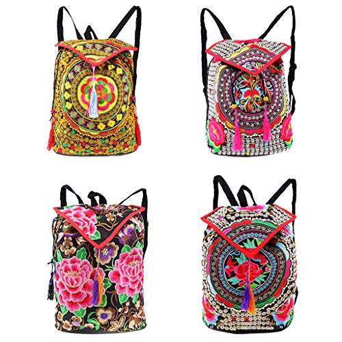 1 Bags Backpack Embroidery 16x27x35cm 1 Shoulder Tribal Travel Handbag Ethnic Women Chinese MagiDeal ZA0vwt