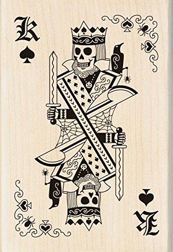 Inkadinkado Wood Stamp, Skeleton King Playing Card (Rubber Skeleton)