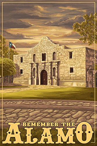 (San Antonio, Texas - The Alamo Sunset (16x24 Giclee Gallery Print, Wall Decor Travel Poster))