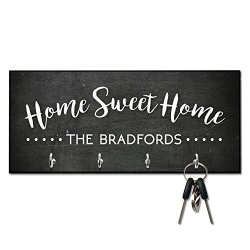 Personalized Chalkboard Look Home Sweet Home Key Hanger