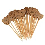 Dovewill 50x Brown Kraft Paper Heart Cupcake Topper Toothpicks for Wedding Decoration Love / I DO Prints - I DO