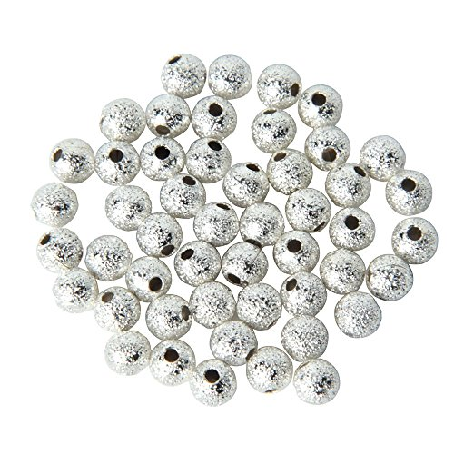 (DierCosy 100Tech 100pcs Spacer Beads Findings Stardust Silver Plated Base Round 4mm for Jewelry Making)