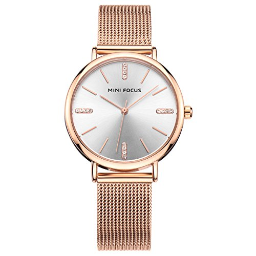 - Women Watches Rose Gold IP Plating Stainless Steel Mesh Band With Brief Rhinestone Index