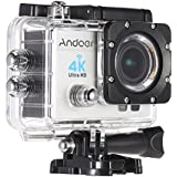 Andoer 2 Ultra-HD LCD 4K 25FPS 1080P 60FPS Wifi Cam FPV Video Output 16MP Action Camera 170°Wide-Angle Lens with Diving 30-meter Waterproof Case (Black)