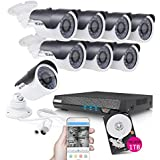 TECBOX Security Video Camera System AHD DVR 1TB Hard Drive Preinstalled 8 Channel Smart Home Equipment with 8 HD 720P Outdoor Wifi Remote View Motion CCTV Camera
