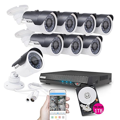 TECBOX Home Security Camera System 8 Channel 720P AHD DVR Recorder 1TB Hard Drive Preintalled with 8 HD 1.3MP Waterproof Night Vision Indoor Outdoor CCTV Surveillance Cameras