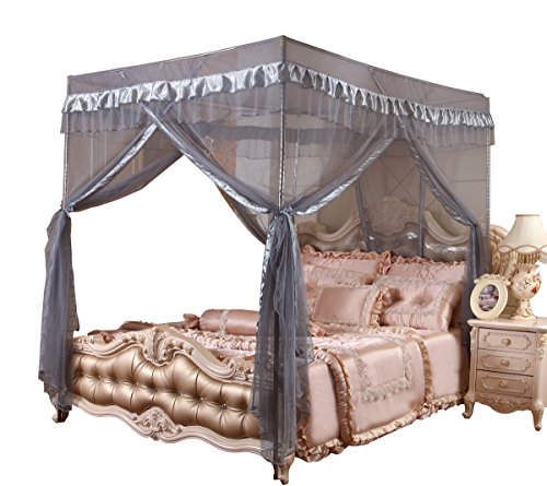 Mengersi 4 Corners Post Bed Canopy Curtains Mosquito Net Girls Boys Bed (Queen, Gray) ()
