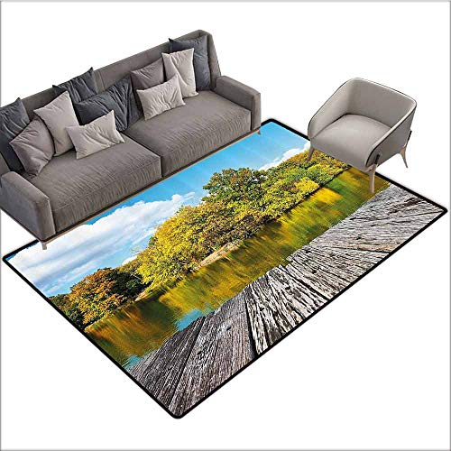 (Indoor/Outdoor Rubber Mat Landscape,New York City Central Park in a Autumn Day Near a Bay with River,Sky Blue Green and Cocoa 80