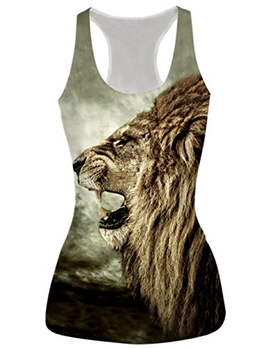 Price comparison product image RAISEVERN 3d Animal Lion Printed Sleeveless Shirts Tank Top Vest, Lion2, One Size