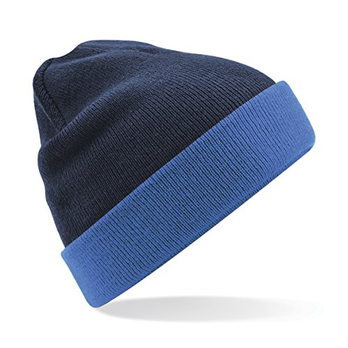 Beechfield Unisex Reversible Contrast Winter Beanie Hat (One Size) (Sapphire Blue/French Navy)