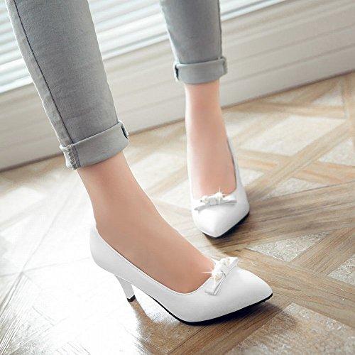 Mee Shoes Damen OL-stil high heels Perle-Dekoration Pumps Weiß
