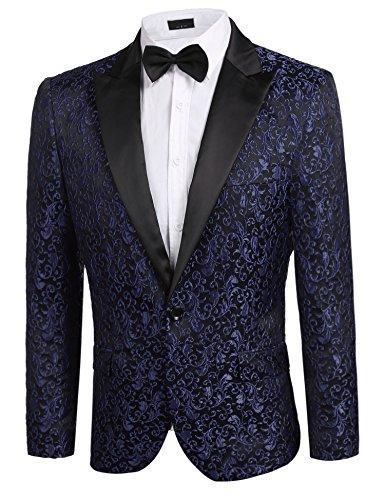 Donet Men's Floral Party Dress Suit Notched Lapel Stylish Dinner Jacket Wedding Blazer Prom Tuxedo Navy Blue XX-Large