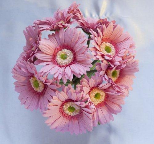 Pink Silk Gerbera Daisy Bouquet - Wedding Party Flowers Arrangements Gift