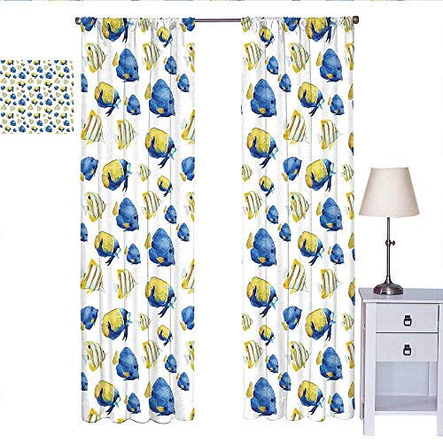 RenteriaDecor Fish Window Curtain 2 Panel Group of Flat Bodies Exotic Oceans Vibrant Color Patterns Abstract Illustration Wall Curtain Yellow Blue White W72 x L108