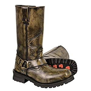 """Milwaukee Leather Men's Classic Harness Square Toe Boots (Black/Beige, Size 8W/11"""" Wide)"""