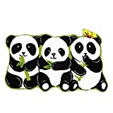 Ustide 3 Pandas Rug Handmade Rugs Non-slip Floor Mats for Bathroom Animal Rug for Kids Small, 19''x31''