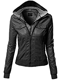 Xpril Women's Zip-up Biker Bomber Hoodie Faux Leather Jackets