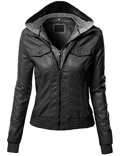 Women's Zip-up Biker Bomber Knit With Hoodie Faux Leather Jackets BLACK Size M