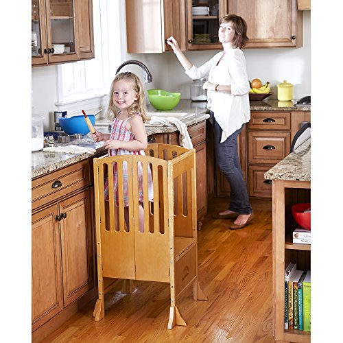 Guidecraft Contemporary Kitchen Helper Stool - Honey: Adjustable Height, Folding Counter Step Stool for Kids, Children Safety Tower, Toddlers Learning Furniture]()