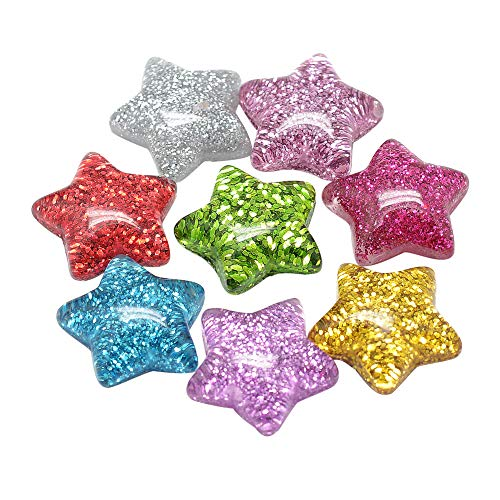 ARRICRAFT 200pcs Plastic Resin Cabochons 16mm Flat Back Glittery Star Beads Cabochon Embellishments for Craft Scrapbooking Jewelry Making]()