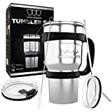 30 oz Tumbler - Stainless Steel 6-Piece Tumbler Set (7 COLORS: BLACK, BLUE, PINK, SEAFOAM, SS, WHITE) Ultra-Tough Double Vacuum Insulated Stainless Steel Travel Tumbler Bundle