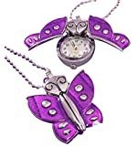 Custom engraved purple butterfly watch with necklace chain in black presentation gift box ref - K2-prl