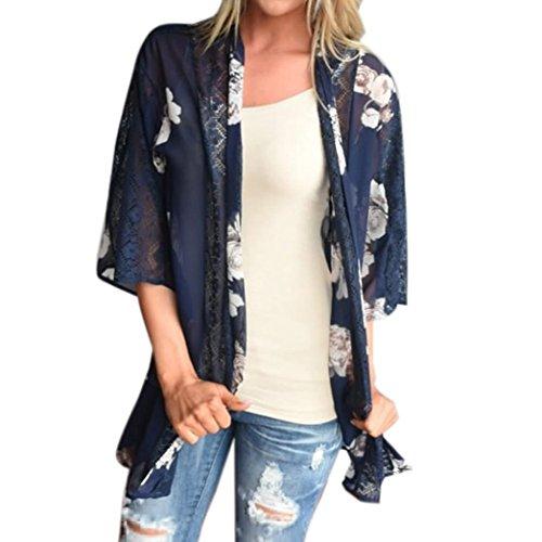 Internet Las mujeres de estampado floral playa gasa chal flojo Kimono Cardigan blusa de la cubierta superior Azul