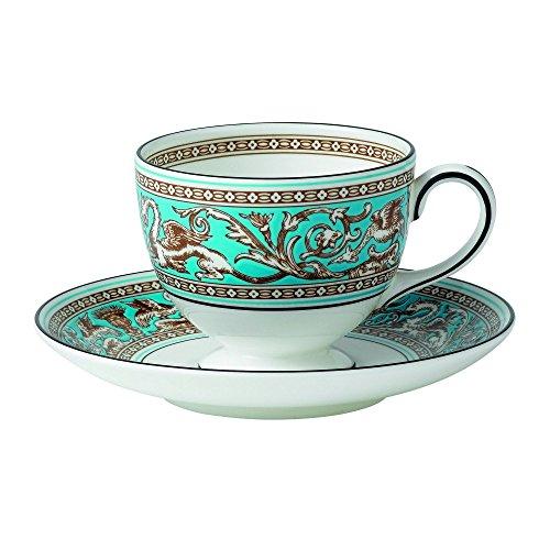 Wedgwood Florentine Turquoise Teacup & Saucer Set, Blue