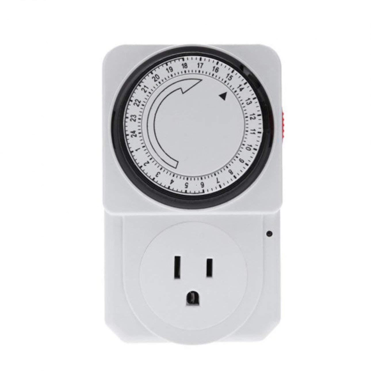 Liobaba 24 Hour Mechanical Electrical Plug Program Timer Power Switch Socket Energy Saver US Plug White Color