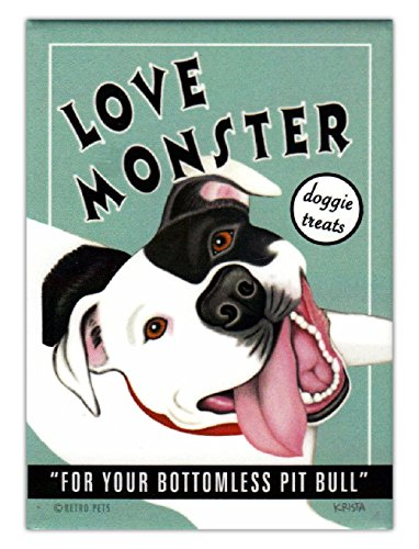 Retro Dogs Refrigerator Magnets - Pit Bull Love Monster Dog Treats - Art by Retro Pets