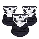 WOVTE Black Seamless Skull Face Tube Mask Pack of 3