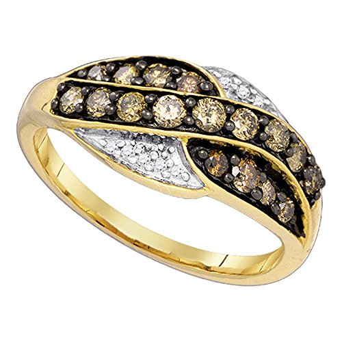 Sonia Jewels Size 8-10K Yellow Gold Chocolate Brown & White Round Diamond Fashion Ring - Channel Setting (.57 cttw.) ()