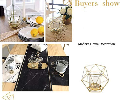 Northern Europe Modern Metal Geometric Structure Gold Handmade Tealight Candle Holder With Windproof Glass Cup Holder Romantic Home Dinner Wedding Decoration