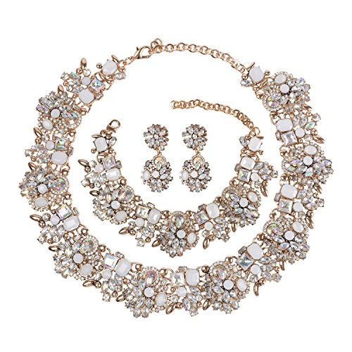 Holylove Chunky Crystal Necklace for Women Fashion Necklace Earrings Bracelet White 1 Set Retro Style with Gift Box-8041SW3PCS Vintage Gold Sparkle