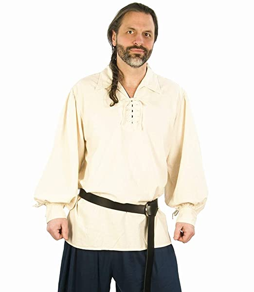 Camisa Escocesa de Hombre Estilo Jacobite Kilt Medieval Manga Larga Disfraz Clasico de Edad Media de