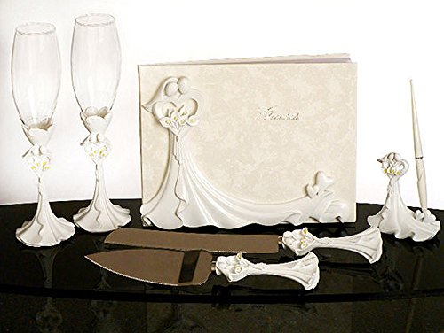 Calla Lily Design Complete Wedding Accessory Set (Lily Cake Wedding Calla)