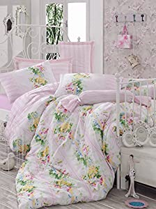 MARY CASE Ranforce Series comforter Set (including comforter) - Sarah (Pink) - International Double Size - Made in Turkey - 100% cotton / 5 pieces - Original Item by GOLD CASE