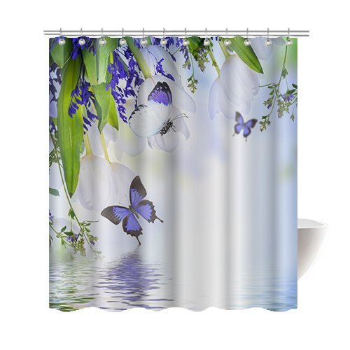 """Gwein Spring Beautiful Green White Flowers and Purple Butterfly Bath Home Decor of Waterproof Bathroom Polyester Fabric Mildew Resistant Shower Curtain 60""""(w)x72"""" (h)Inch"""