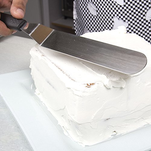 7'' Angled Stainless Steel Offset Icing Spatula with Ergonomic Handle Spreads Frosting Smoothly and Evenly for Commercial-Quality Cake Decorating by Topenca by Topenca Supplies (Image #2)