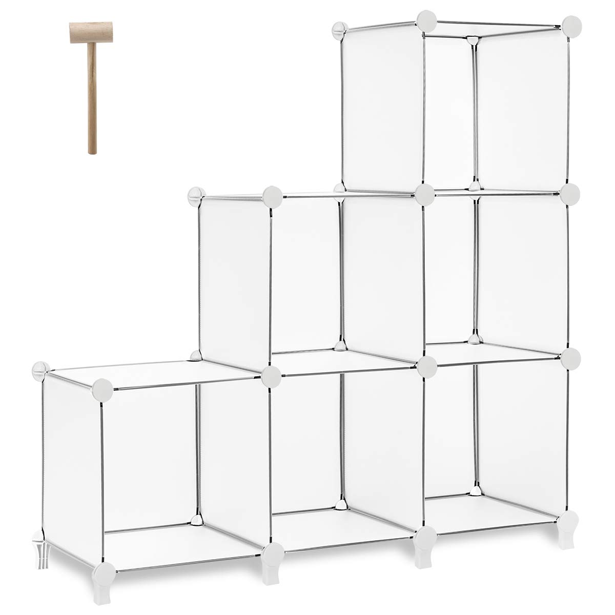 TomCare Cube Storage 6-Cube Bookshelf Closet Organizer Storage Shelves Shelf Cubes Organizer Plastic Square Book Shelf Bookcase DIY Closet Cabinet Organizer Shelving for Home Office Bedroom, White