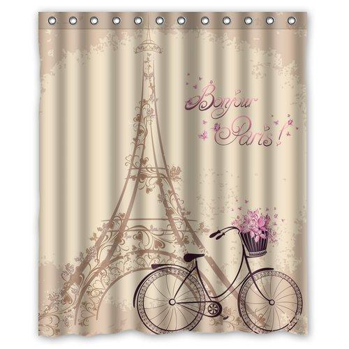 "Bonjour Paris Eiffel Tower Waterproof Fabric Polyester Bathroom Shower Curtain with 12 Hooks 60""(w) x 72""(h)"