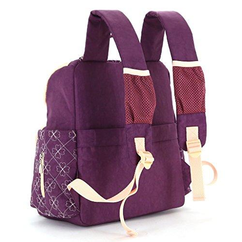 LCY Unisex elegante mochila multifunción cambiador de bebé bolsa mochila con correas para el carrito y cambiador Khaki/Apricot Purple/Apricot