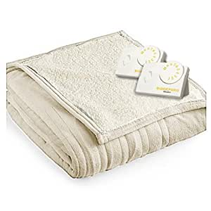 Pure Warmth by Biddeford MicroPlush Sherpa Electric Heated Blanket King Linen